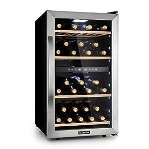 KLARSTEIN Vinamour - Cave à vin, Etagères en bois amovibles, Porte en verre, Panneau de commande tactile, Ecran LCD, Eclairage intérieur, Plage de température: 5 à 18°C - 45 bouteilles, Argent