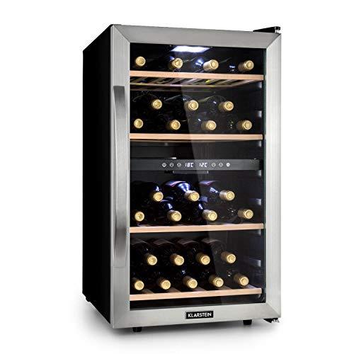 KLARSTEIN Vinamour - Nevera para vinos, Nevera para Bebidas, Refrigerador gastronomía, 2 Zonas, Iluminación LED, Módulo Independiente, Silencioso, Acero INOX, 54 Botellas, 4 Baldas, 118 L, Plateado