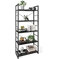 ODK 5 Tier Tall Bookcase Shelf for Bedroom, Living Room and Home Office (Black)