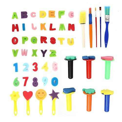 WH-IOE Sets de pinceaux de Peinture 51Pcs Creative Graffiti Dessin Enfants Peinture Brosse Kits Fleurs Peinture à l'huile pour Aquarelle (Color : Multi-Colored, Size : 51pcs)