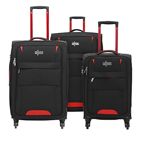 Baltimore zwart/rood kofferset, 81 cm