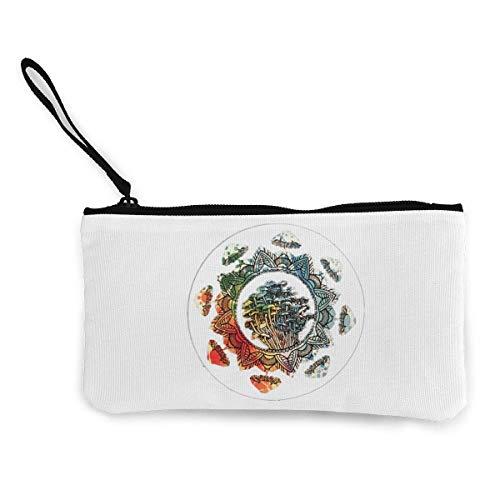 Unisex-Geldbörse, Canvas Cash Geldbörse,Mushroom and Circle Print Make Up Bag Zipper Small Purse Wallets