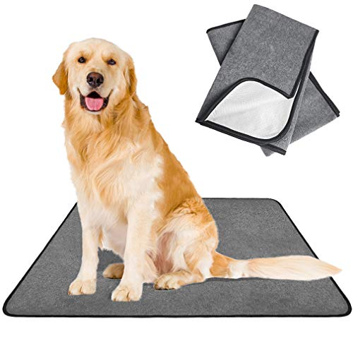 SCENEREAL Washable Pee Pads for Dogs - 2 Pack Reusable Puppy Potty Training Pads Super Absorbent, Waterproof & Non-Slip Whelphing Mat Dog Bowl Mat for Food and Water