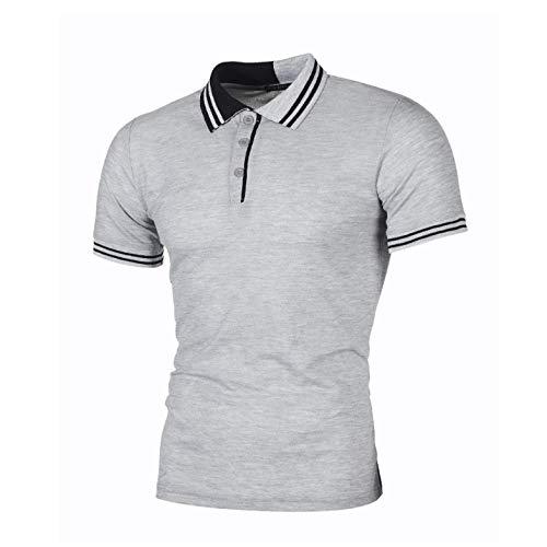 CFWL Polo Cedro da Uomo Casual A Righe Semplici Colorblock Slim vestibilità Standard Regular-Fit Short-Sleeve Plaid Shirt Slim Tee Maglietta Uomo Regular-Fit Two-Pocket Twill Shirt Grigio XXL