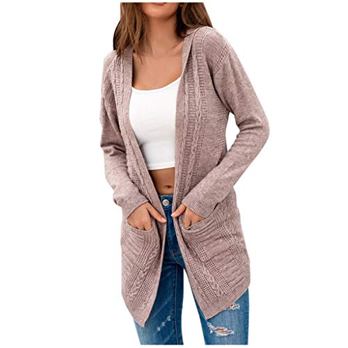 YOCheerful Knitted-Twist Hooded Cardigan Sweater Women's Solid Color Waist Drawstring Loose Sweater Cardigan with Pockets