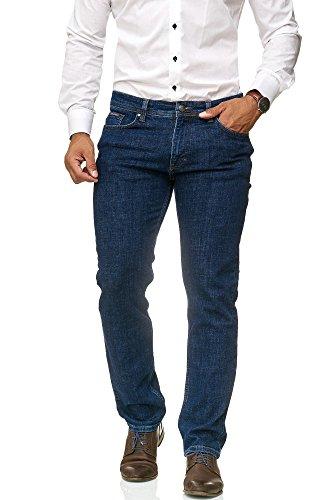 BARBONS Herren Jeans - Bügelleicht - Regular-Fit Stretch - Business Freizeit - Hochwertige Jeans-Hose Blau 36W / 32L