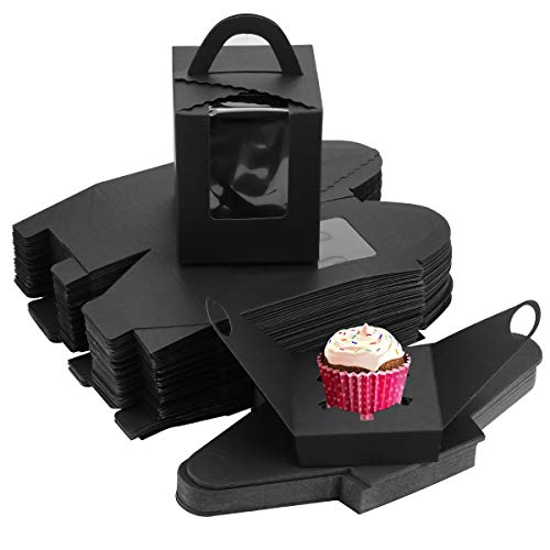 BILLIOTEAM 60PCS Black Single Cupcake Boxes, Clear Window Inserts Handle Cupcake Muffins Cupcake Carriers Pastry Containers Bakery Wrapping Party Favor Packing For Wedding Cupcake Favor Boxes