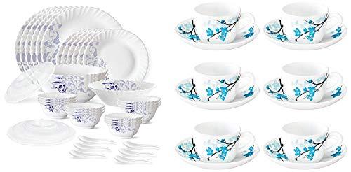 Borosil Blue Eve Silk Series - Juego de vajilla de Opalware (35 piezas), color blanco y Larah de Borosil - Mimosa (LH) Juego de taza y platillo, 140 ml, 12 piezas, blanco y azul de la mejor calidad.