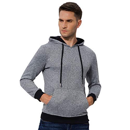 Mens Fashion Athletic Workout Sport Hoodies Sweatshirt Hoodie Pullover Darkgrey