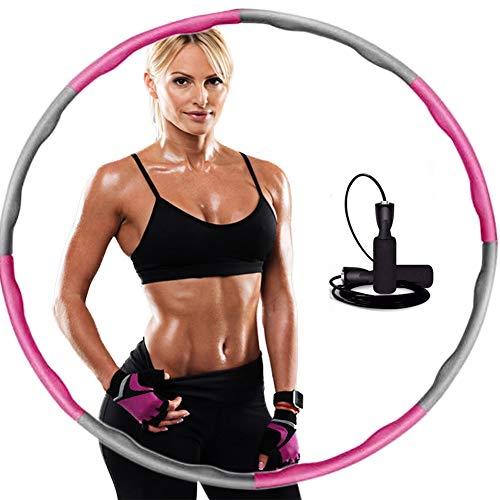 Hula Hoop Reifen, Hula Hoop für Erwachsene und Kinder,Hula Hoop mit 3M Springseile Kostenlos, mit Schaumstoff ca 1 kg Gewichten Einstellbar Bereit 8 Abschnitten(Springseile werden zufällig versendet)