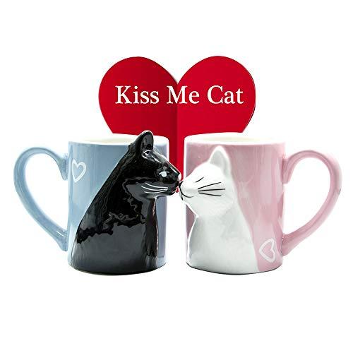 Katze Kaffee Paar Bechersatz, Einzigartige Keramik Teetassen Set, Kuss Hochzeit Becher für Braut und Bräutigam, passendes Geschenk für Jubiläum, Engagement, Valentinstag, Geburtstag Katzenliebhaber