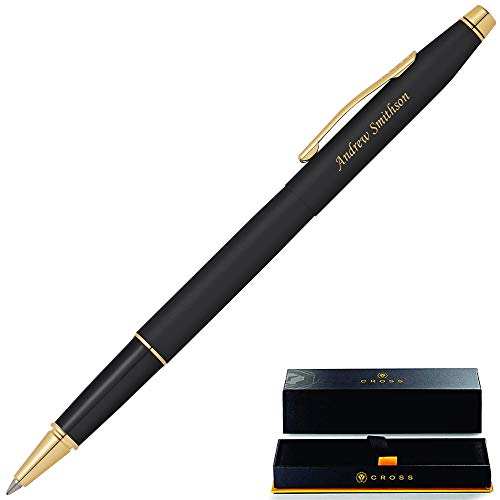 Cross Rollerball Pen | Engraved/Personalized Cross Classic Century Black Rollerball Pen with Gold Trim AT0085-110. Custom Engraved Fast!
