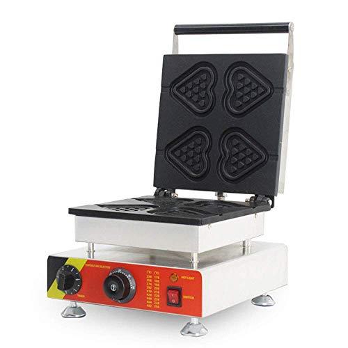 Máquina de gofres eléctrica Revestimiento Antiadherente de Hierro para gofres de corazón función de Temporizador de Control de Temperatura para gofres de Carne gofres de corazón 1500 W