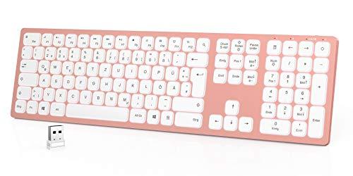 seenda Beleuchtete Tastatur Kabellos, Kabellose Tastatur mit Weißer LED Hintergrundbeleuchtung, QWERTZ Layout, Wiederaufladbare Ultraslim Fullsize Funktastatur für Windows PC/Laptop/Tablet, Rosa Gold