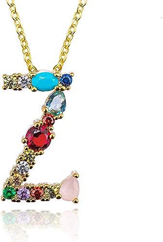 Yiffshunl Collar de Moda de Color Dorado con Colgante Inicial, Collar de circón, 26 Letras, Nombre de Personalidad, joyería, Accesorios para Mujer y Novia, Regalo