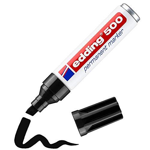 edding 500 Permanentmarker - schwarz - 1 Stift - Keil-Spitze 2-7 mm - wasserfest, schnell-trocknend - wischfest - für Karton, Kunststoff, Holz, Metall, Glas