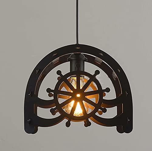 Lámpara de araña de hierro forjado estadounidense, iluminación colgante de rueda retro, lámpara de suspensión colgante de barra de cocina de restaurante, lámpara de...