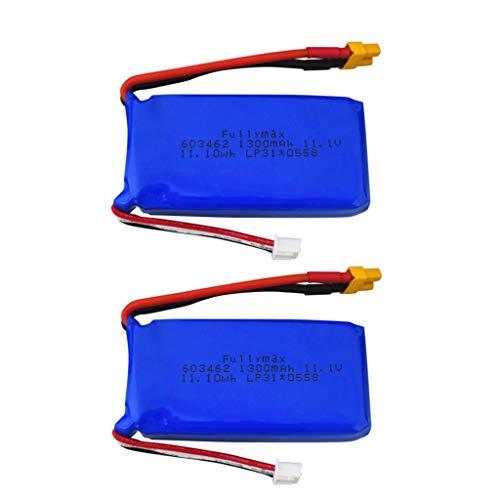 ZYGY 2PCS 11,1V 1300mah batería de Litio de Cabeza XT30 para batería de avión de ala Fija con Control Remoto Wltoys XK X450