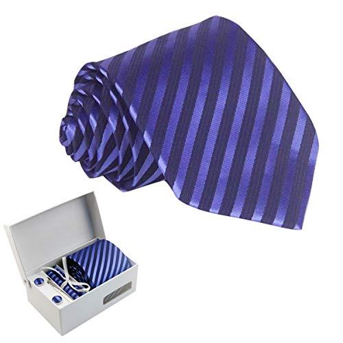 Panegy Panegy Herren Krawatte Einstecktuch Manschettenknöpfe Set Streifen gewebt Krawatten für Hochzeit Männer Slim Tie Business Schlips - Blau/Dunkelblau