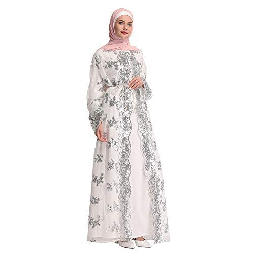WUSIKY Damen Muslim Kleid - Arabien Islamische Gebet Kleid Spitze Muslimische Kleidung Lang Ärmel Lang Mantel Abaya Morgenmantel