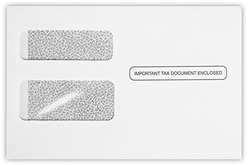 5 3/4 x 8 7/8 Envelopes for W-2/1099 Forms in 24 lb. White w/Security Tint for Mailing Tax Forms, Financial Documents, Checks, 50 Pack (White)