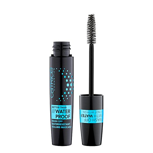 Catrice Better Than Waterproof Wash Off Waterresistant Volume Mascara, Wimperntusche, Nr. 010 Black, schwarz, definierend, volumengebend, langanhaltend, matt, wasserfest, vegan, ohne Parfüm (11ml)