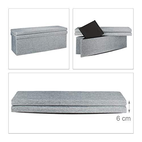 Relaxdays Faltbarer Sitzhocker mit Lehne XL HBT 73 x 114 x 38 cm stabiler Sitzcube als Fußablage Sitzbank und Sitzwürfel aus Leinen als Aufbewahrungsbox mit Stauraum mit Deckel für Wohnraum, grau - 6