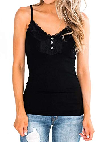 Women's Basic Lace Trim Button Camisole Adjustable Spaghetti Strap Tank Top,Black, XL