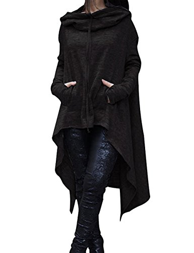 Wooniu Women Fashion Pullover Hoodies Drawstring Pockets Hi-lo Sweatshirts Dress Black S