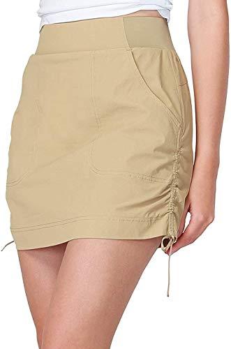 CAMEL CROWN Falda de Mujer Faldas Deportivas Faldas de Tenis Hockey Golf con Pantalones Interiores y Bolsillos para Correr Secado Rápido Cintura Elástica Elegante Falda Casual de Verano Negro Caqui