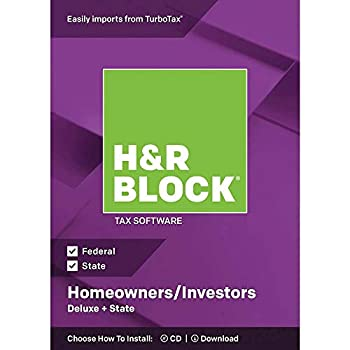 H&R Block Deluxe + State 2018 Homeowners/Investors Tax Software Traditional Disc  Original Version