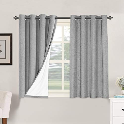 Linen Blackout Curtains 45 Inches Long 100% Total Blackout Heavy-Duty Draperies for Bedroom Living Room Thermal Insulated Textured Functional Window Treatment Anti Rust Grommet (Dove Gray, 2 Panels)