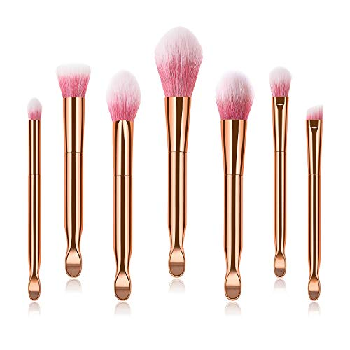 Our Peaches Mehrfachkombination Make-up Pinsel Set Make-up Pinsel Ohrlöffel Polieren, Spot, Concealer - Hochwertige Synthetikborsten (UnitCount : 7)