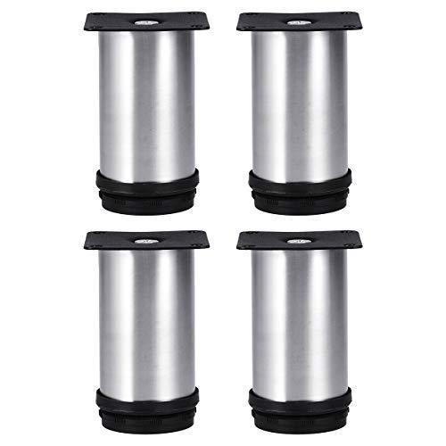 Tinksky Metallmöbel Beine Küche verstellbare Füße Runde Möbel Beine-4pcs(Silver)