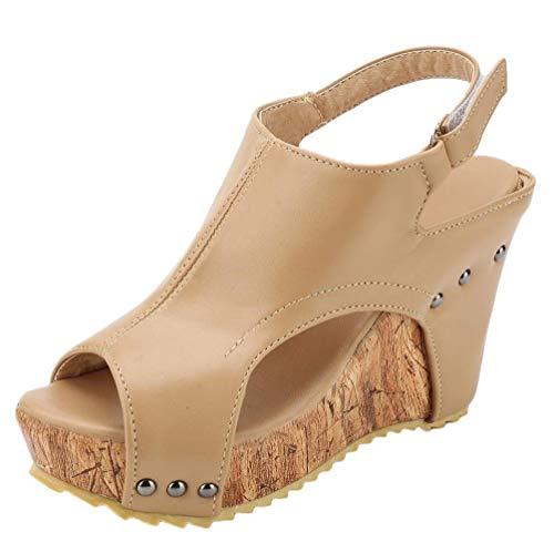 Minetom Sandalias Mujer Verano Cuña Peep Toe Cabeza Pescado Zapatos De Tacón Alto Retro Zapatillas Sandals Romanas Moda Cuero