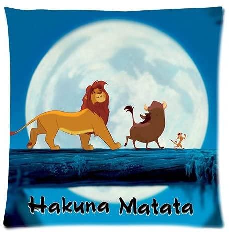 Lion King Hakuna Matata - Funda de almohada personalizada con puente de luna llena, funda de almohada impresa en dos lados 45,7 x 45,7 cm