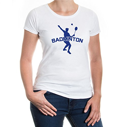 Girlie T-Shirt Badminton-M-White-royal