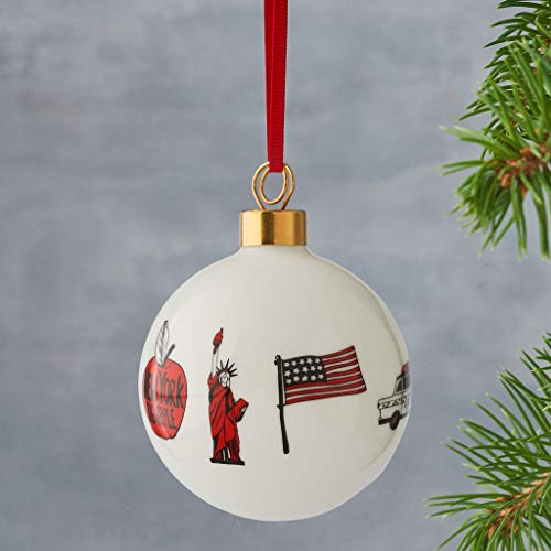 New York Bauble, Red & White, Christmas Tree Ornament