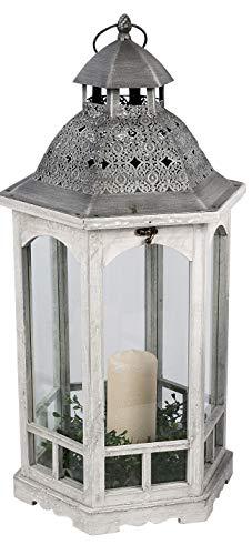 dekojohnson Decorative Wooden Lantern Floor Lantern Italian Garden Lantern Metal Roof Vintage Antique Grey Silver Rustic Hexagonal 33 x 30 x 65 cm