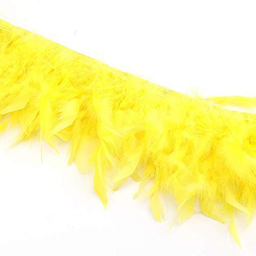 KOLIGHT Pack van 2 Yards Natural Dyed Turkije vlokken veren 4~6 inch Fringe Trim DIY jurk ambachten kostuums decoratie Geel
