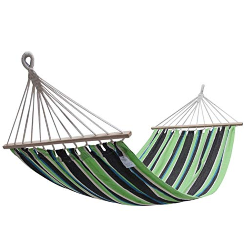 Hammock OutdoorSwing, Wooden Stick, To Prevent Rollover, Both Ends Reinforced Wear-resistant Outdoor Indoor Hanging Chair 200 * 100cm Green Black Stripes Hammock