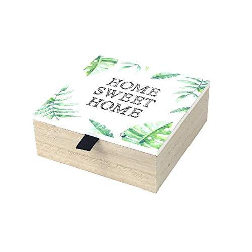 Caja de madera para t/é Home Sweet Home dise/ño vintage
