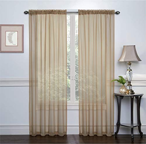 Ruthy's Textile 2 Pack Sheer Voile Window Treatment Rod Pocket Curtain Panels for Bedroom and Living Room 54 x 84 inches Long - Color: Antique