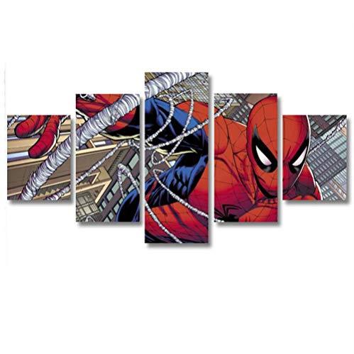 GSDFSD So Crazy Art - Hombre araña Decoracion De Pared 5 Piezas Modernos Mural Fotos para