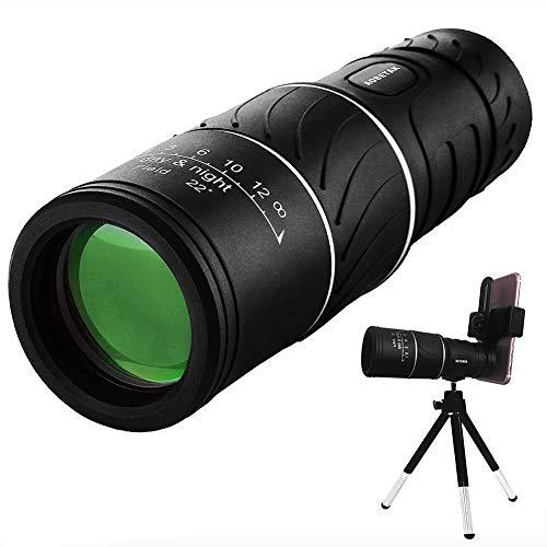 Yiyu 16 X 52 Monokular Teleskop, HD Handy Klein Mini Monokular Fernglas Mit Adapter Und Stativ,Nachtsicht Wasserdicht Fernrohr Scope Für Zoom Vogelbeobachtung Jagd Reisen Im Freien x (Color : Black)