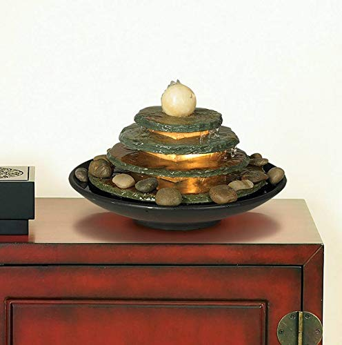 Pyramid Shaped Tabletop Fountain With River Rocks