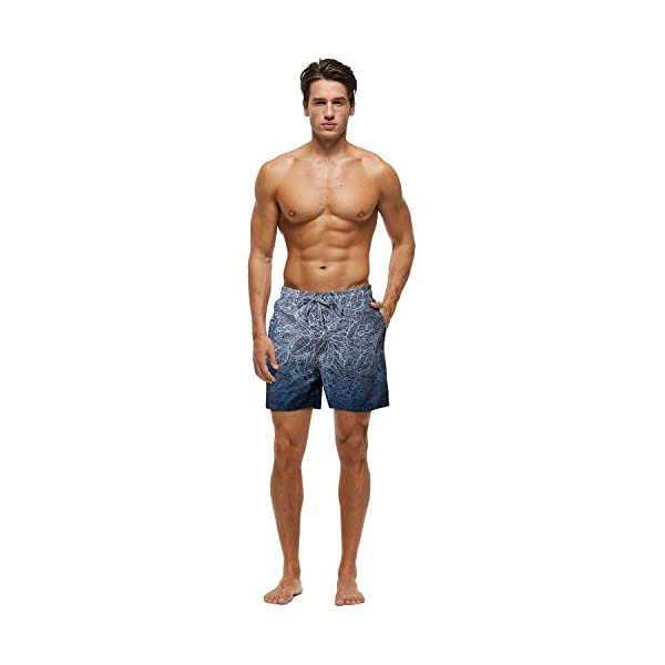Lanyi Mens Swim Trunks Swimming Beach Surfing Board Shorts Swimwear Quick Dry Mesh Lining Bathing Suits with Pockets