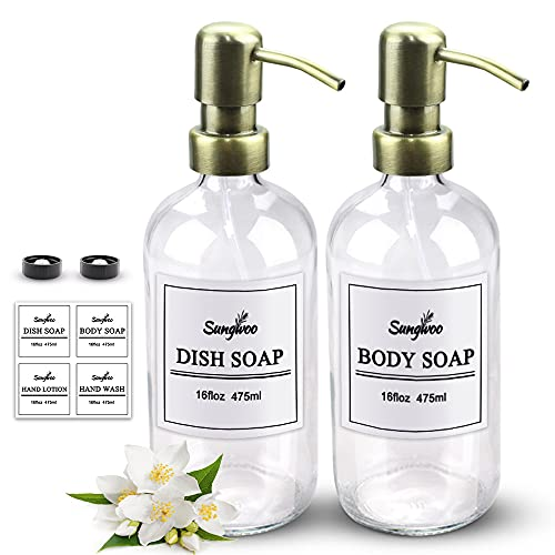 sungwoo 2 Pack Hand Soap Dispenser, 16 Ounces Glass Soap Dispenser with Stainless Steel Pump Great for Essential Oils, Lotions, Liquid Soaps