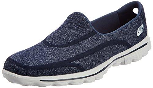 Skechers Performance Women's Go Walk 2 Super Sock Slip-On Walking Shoe,Old Navy/Grey,7.5 M US
