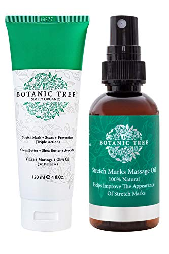 Botanic Tree Stretch Mark Cream-It Helps to Decrease Stretch Marks in 93% of Customers in 2 Months-Stretch Marks Remover Cream with Organic Cocoa, Shea Butter, Avocado-Natural Stretch Mark Removal...